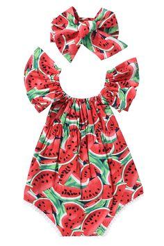 Newborn Baby Girls Watermelons Printed Ruffle Bodysuit with Headband 06M Watermelon *** Want additional info? Click on the image(It is Amazon affiliate link). #BabyGirlClothingCollection