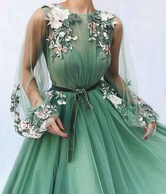 Prom-Dresses Evening-Dress Longo Mint-Green Formal Applique Apparition A-Line Flowers Tulle Evening Dress Plus Size Prom Dresses Long With Sleeves, Cute Prom Dresses, Ball Dresses, Elegant Dresses, Pretty Dresses, Beautiful Dresses, Ball Gowns, Evening Dresses, Formal Dresses