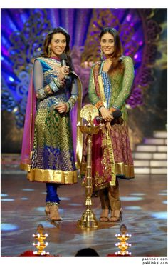 Kareena Kapoor (r) - look at those gorgeous colors, love these outfits!