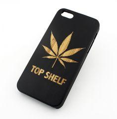 "Black Ink Bamboo Wood Cover for Apple IPHONE 5 / 5S - ""Top Shelf Marijuana"" weed…"