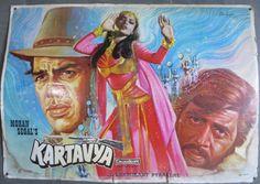 India bollywood Lobbycard film Kartavya1979 Large hand Painted Dharmendra Rekha6