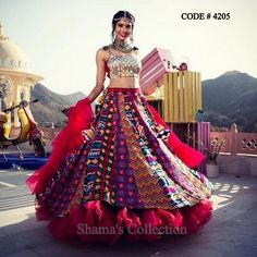 Unique patterned offbeat lehenga choli for this wedding season is being preferred over red. Choose a lehenga that makes everyone's hearts flutter. Multicolored lehenga to slay your bridal look this season. Indian Fashion Dresses, Indian Bridal Outfits, Indian Gowns Dresses, Dress Indian Style, Indian Designer Outfits, Designer Ethnic Wear, Indian Bridal Wear, African Fashion, Choli Blouse Design