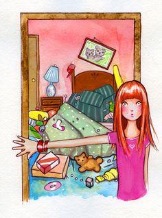 Dear Carol: Messy Room by Joshua David illustration Messy Room, Rockn Roll, My Side, Granddaughters, Fall 2015, Female Art, Illustration Art, Bedrooms, David