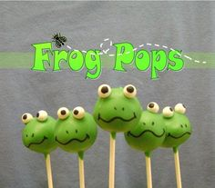 These little frog cake pops want to hop into your tummy! Made from delicious cake with white sixlet candy eyes, these cuties will make a smile jump