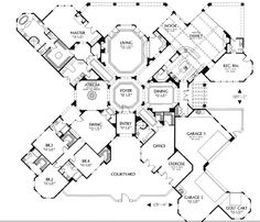 The House Designers - 1603.pdf - Large Mediterranean 1 story floorplan with over 6000 sq ft.