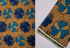 2 Yards Light Yellow &Blue Flower African Fabric Ankara Cotton Wax  Prints. #VeritableBintaWax