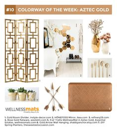 3.30.15: AZTEC GOLD | Inspired by the luster of lost treasure, our Aztec Gold is a burst of bright, rich gold. This lovely metallic is truly a treasure for your home. Rose Gold Flatware, Aztec Gold, Gold Rooms, Earth Tones, Floor Mats, Luster, Color Inspiration, Metallic, Bright