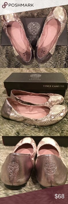 Vince Camuto Snake Silver Metallic Flats 7.5M Brand new with Box.  I only tried it on to see it's fit once indoor.  Unfortunately it is too tight on my wide foot. I just realized that there are very tiny scratches at the heels areas so I just dropped the price.  White spots on these photos are just reflections of the silvery shimmering patterns on the shoes. Vince Camuto Shoes Flats & Loafers