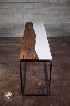 This is a central live edge black walnut / cambria quartz torquay console we have done. New collection. We can make a console, coffee table, office desk or dining table. Slab Table, Walnut Table, Resin Table, Wood Table, Dining Table, Dining Room, Live Edge Wood, Live Edge Table, Hardwood Furniture