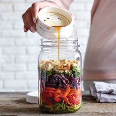 Asian Crunch Salad - Pampered Chef - Spiralized carrots and cucumbers replace the noodles in this light and refreshing layered salad. The Pampered Chef, Pampered Chef Recipes, Cooking Recipes, Jar Recipes, Salad Recipes, Recipies, Dishes Recipes, Family Recipes, Recipe Ideas