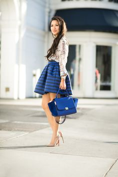 Delicate Flare :: Butterfly print & Striped flare skirt & pearl burst earrings