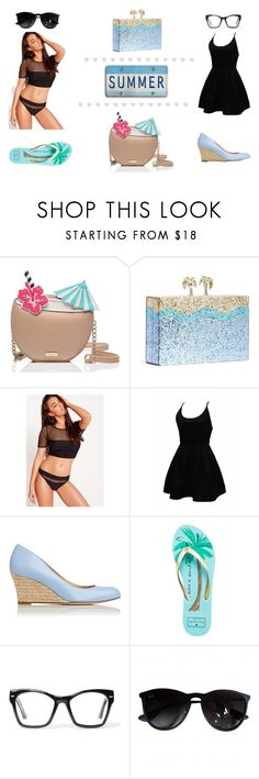 """MY S u m m e r LOOK"" by nikitaheng on Polyvore featuring Kate Spade, Missguided, L.K.Bennett, Spitfire and Ray-Ban"