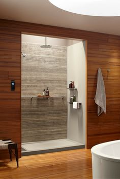 Contemporary DIY shower wall panel system solid surface