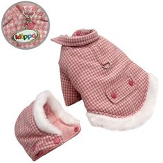 Thick and Warm Houndstooth Dog Coat with Detachable Hood - L $37.99