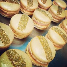 Gold striped macarons from Sweet and Saucy Shop