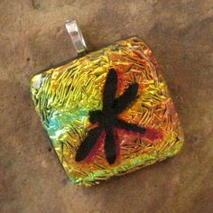 Dragonfly in the Sunset Dichroic Pendant by GlassCat on Etsy, $22.50