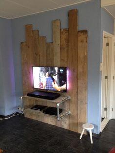 Wandmeubel TV steigerhout en steigerbuis