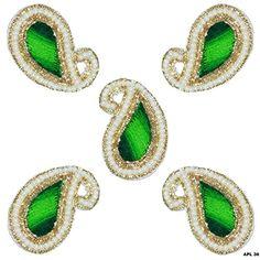 Paisley Design Applique 4 pcs Green Pearl Beaded Applique Indian Traditional Patch Art Decor Sewing Craft Supplies Peegli http://www.amazon.com/dp/B01730ITV6/ref=cm_sw_r_pi_dp_ikeMwb0D9J741