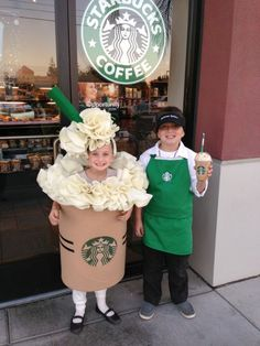 Super cute Starbucks couples costume for kids or adults!