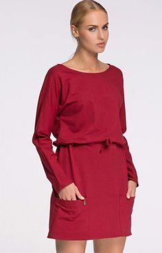 f1ec7f57a6 Makadamia M275 sukienka bordowa Stylowa sukienka
