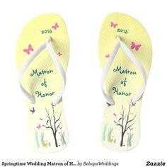 Springtime Wedding Matron of Honor Flip Flops