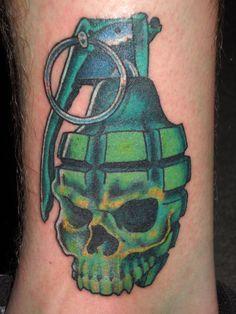 skull grenade tattoo - Google Search
