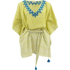 Banjanan Athena Embroidered Caftan ($348) ❤ liked on Polyvore featuring tops, tunics, dresses, kaftan, swimwear, embroidered top, embroidered tunic, v neck tunic, v-neck tops and embroidery tops