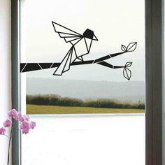 Sticker mural décoratif oiseau sur sa branche en origami disponible sur www.optimistick.fr