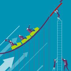 Business Roller coaster vector art illustration