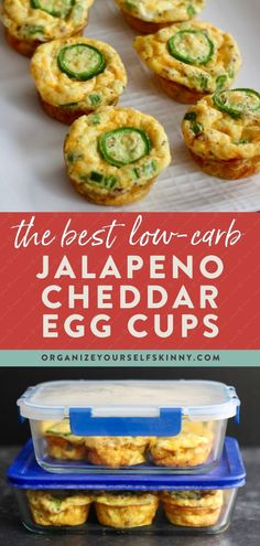 If you're looking for some low carb breakfast ideas, these Jalapeno Cheddar Egg Bites should definitely be on your radar. At only 89 calories per egg bite and 7 grams of protein, this egg bites recipe is the perfect low carb, high protein option when you're on the go. Organize Yourself Skinny | Healthy Breakfast Recipes | Low Carb Breakfast Recipe | Keto Breakfast Recipe | Low Carb Snack Recipe | Healthy Recipes | Skinny Recipes | Meal Prep for Beginners | Meal Planning Healthy Low Carb Dinners, Healthy Freezer Meals, Low Carb Dinner Recipes, Healthy Snacks For Kids, Healthy Foods To Eat, Clean Eating Recipes, Easy Healthy Recipes, Snacks Recipes, Quick Snacks