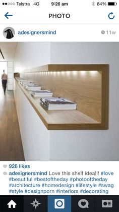 Interior architecture: wood shelf with in-built light. Neat and simple, love it! Interior architecture: wood shelf with in-built light. Neat and simple, love it! Interior Architecture, Interior And Exterior, Interior Design, Simple Interior, Interior Shop, Interior Livingroom, Wood Interiors, Office Interiors, Built In Furniture