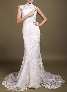 chinese vintage lace wedding bridal dress cheongsam mandarin collar dress red black white dress. $300.00, via Etsy.
