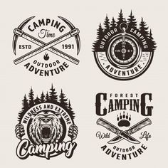 Vintage monochrome camping summer labels with crossed pickaxes and knives navigational compass aggressive bear head forest landscapes isolated vector illustration Illustration , Icon Set, Camping, Bear Footprint, Monochrome, American Logo, Logos, Bear Silhouette, Logo Design, Emblem