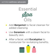 Spa time! Did you know Essential oils are great for giving yourself a spa treatment? Try adding Bergamot to a facial cleanser, Geranium to a steam facial and Eucalyptus afterwards with your moisturizer. www.hayleyhobson.com