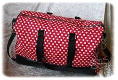 """Sac de voyage """" Boston"""" modèle Sacôtin noir et rouge à pois blanc : Bagagerie par chez-elsa-boutique"""