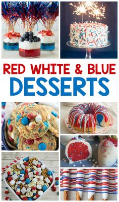 These red white and blue desserts are perfect for Memorial Day or the of July! If you need to take a dessert to a BBQ or a summer picnic, we have a bunch to Mini Desserts, Blue Desserts, 4th Of July Desserts, Fourth Of July Food, 4th Of July Party, July 4th, Patriotic Desserts, Patriotic Crafts, Patriotic Party