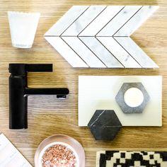 Feminine take on black tapware. Dorf Enigma #dorf #dorfstyle #blacktapware #blacktap #bathroominspo #design #styling #flatlay #pasteltones #pink #marble #tiles #inspiration #decor #home  https://www.dorf.com.au/products/mixer-taps/enigma/enigma-basin-mixer-black