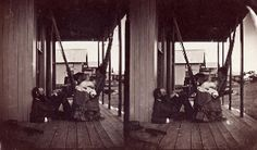 R. Swain Gifford and Fanny Gifford on porch of Nonquitt house with baby, Stereograph, New Bedford Whaling Museum.