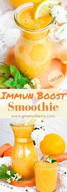 Immun-Boost Smoothie mit Ingwer und Kurkuma (vegan) www.greenysherry.com