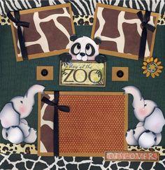 zoo scrapbook layouts   ZOO ~ 2 premade scrapbook pages paper piecing 4 ALBUM scrapbooking 3D ...