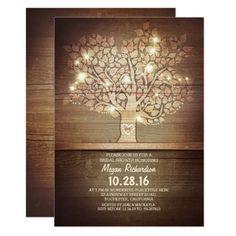 String lights & rustic tree bridal shower card
