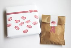 Giftwrappings made with hand carved Peppermint stamp