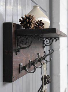 reclaimed wood victorian coat hook shelf - Coat Hooks With Storage