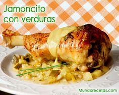 Jamoncito de pavo o pollo al horno con verduras