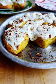 Pumpkin Cinnamon Rolls | #thanksgiving #autumn #holiday #food #desserts #baking #breakfast