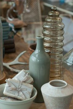 French vanilla soaps, mid century glass vessel & dutch ceramics from  heather ross { natural eclectic }