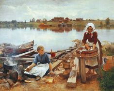 JaRNEFELT Eero Laundry at the river bank 1889 Eero Jarnefelt Malmo Sweden Oil Painting Reproductions 73850
