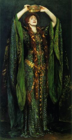Oil painting by John Singer Sargeant circa 1889; Actress Ellen Terry as Lady Macbeth in stage production of Macbeth inspiration for Disney Pixar's Brave, Queen Elinor gown