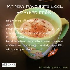 Looking for a yummy latte without the crazy calories…Here's your drink. Depending on how much cinnamon (and other spices) you add, it can taste like a yummy vanilla tea latte or a chai latte. Source by Detox Tee, Detox Cleanse Drink, Detox Drinks, Body Cleanse, Arbonne 30 Day Cleanse, Arbonne Detox, Crab Cakes, Arbonne Shake Recipes, Herbalife Recipes