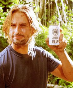 Lost - Josh Holloway (Sawyer) with Dharma Initiative beer
